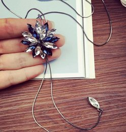 Wholesale Petal Flower Necklace - Korean Crystal Flower Tassel Pendant Necklace For Women Long Solid Petals White Blue Sweater Chain Fashion Jewelry