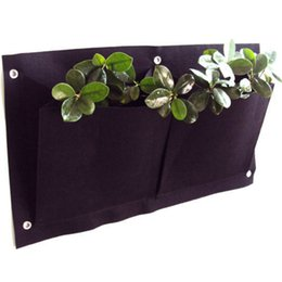 Wholesale Strawberry Baskets - 2 Pocket Hanging Vertical Garden Wall Planter - for herbs lettuce flowers ferns planting bag wall strawberry grow bag 30*54cm
