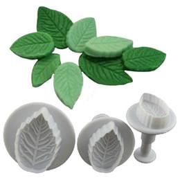 Wholesale Rose Leaf Cutter - 3 Pcs Cake Rose Leaf Plunger Fondant Decorating Sugar Craft Mold Cutter Tools