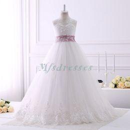 Wholesale White Rose Belt Wedding - White Ivory bloemenmeisjes jurk Children First Communion Dresses for Girls 2017 Ball Gown Belt Rose Pink Elegant Flower Girl Dress