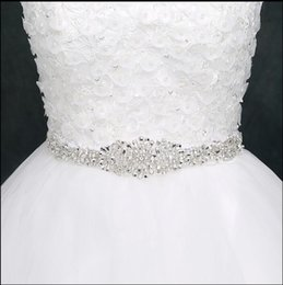 Wholesale Crystal Wedding Belts - Best Selling Crystals Beaded Wedding Sash Ivory White Satin Sparkling Long Beads Bridal Belts Handmade Very Cheap Sash For Brides