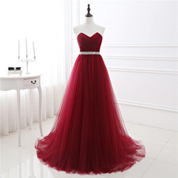 Wholesale sexy evening dresses yellow color - 2017 New In Stock A-line Soft Tulle Dark Red Prom Dress Hand Beading Sexy Evening Gowns Bandage Long Party Dress vestido de fest