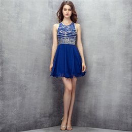Wholesale Girls Dress Size 18 - Blue Chiffon Short Homecoming Dresses Sequins Beaded Backless Cocktail Dresses Sweety 18 Girls Party Gowns sh0108