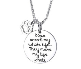 Wholesale Cheap Cubic Zirconia Charms Wholesale - factory wholesale cheap jewelry necklace round tag necklace with dog footprint charm gift jewelry for girls boys
