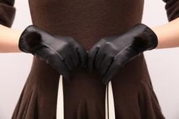 Wholesale Womens Leather Fingerless Gloves - Wholesale- Fashion Sheepskin Leather Gloves Womens Winter Warm Thickening Wrist Marten Fur Ball Mittens Brand Black Driving Gloves