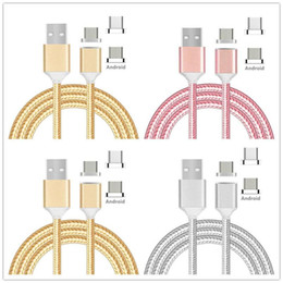 Wholesale Magnetic Charger Blackberry - 1m 3FT Fabric nylon braided magnetic fast charging micro V8 5pin usb data charger cable for samsung s6 s7 edge plus for htc lg.