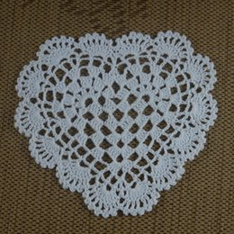 Wholesale Home Decorating Ornaments - Wholesale- Handmade Crocheted Doilies 16-20cm 3 design heart Round Mat&Pad Wedding rose Ornament Vintage tablecloth Home decorate 15PCS LOT
