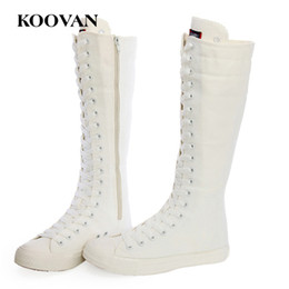 Wholesale Korean Boots Wedges - Big Size knee Boots Canvas Shoes Perform Shoes 2017 Hot Sale Koovan Women Korean Inside Increase Fashion Shoes High Quality Soft Bottom W170