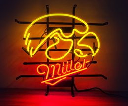 Wholesale New Light Life - New HIGH LIFE Neon Beer Sign Bar Sign Real Glass Neon Light Beer Sign ME661-ncaa iowa hawkeyes miller 001 18x16 001