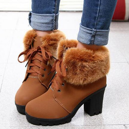 31c006e1c4e6 knöchel-fell-stiefel Rabatt Kunstpelz Stiefeletten Mode Damen  Schnürstiefeletten Warme Winterstiefel High Heels Plateauschuhe