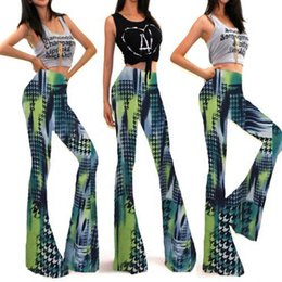 Wholesale High Waist Bootcut Legging - Womens Flared Leggings Printed Long Pant Elastic High Waist Trousers Summer Skinny Bell Bottoms Stretch Knit Wide Leg Pants