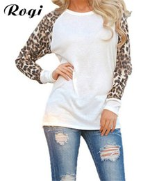 Wholesale Leopard Print T Shirts Women - Wholesale- Rogi Female T-Shirt 2017 Women Long Sleeve Leopard Print Harajuku Tee Shirts Jumper Tees Tops Camisetas Mujer Chemise Femme 5XL