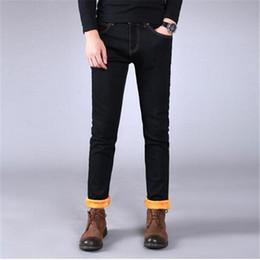 Wholesale fleece lined jeans - Wholesale- Winter Themal Men Warm Jean Trousers Slim Fit Straight Thick Denim Joggers For Male Fleece Lined Jeans Pants Plus