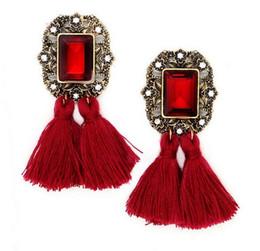 Wholesale Vintage Red Lucite Earrings - New Vintage Crystal Tassel Dangle Earrings Brincos Pendiente Earrings For Women Gift oorbellen Long Pendant Drop Earring -EA08