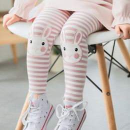 Wholesale Yellow Striped Tights - New Kids Clothing cute stripe rabbit Cartoon Boys Girls Leggings Children Leggings Tights Kids Cotton Leggings Toddler pants trousers A804