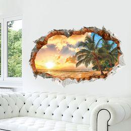 Wholesale Sunshine Style - New Arrivals Sunshine Beach 3D Window View Removable Wall Sticker Art Vinyl Decal Home Decor Mural