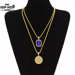 Wholesale Micro Rope - Wholesale-Micro Ruby Red & Jesus Face Pendant Chain Necklace Set for Men High Quality Zinc Alloy Iced Out Hip Hop Jewelry New Arrival