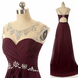 Wholesale Maroon Jacket - Maroon Long Prom Dresses Scoop Chiffon Ilussion Neckline Real Picture 2017 Evening Gown Open Back Pleated Party Dresses