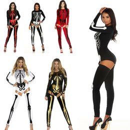 Wholesale Tv Sleeves - 2017 Costume Velvet Party Suit Scary Style Skeleton Printed Polyster Full Sleeves Clothes Halloween Costume stage Women Jumpsuits