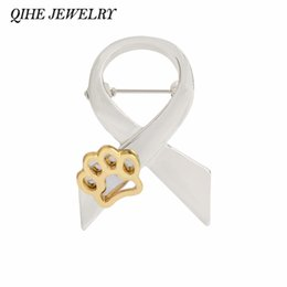 Wholesale Ribbon Paws - QIHE JEWELRY Ribbon & Paw Print Pins Brooch Pin Up Gold Silver 2 Color For Women Suit Hats Clips Dog Lovers Gifts