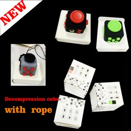 Wholesale First Ring - 2017 Fidget MINI Fidget Cube With Rope Fidget Cube The World's First American Anxiety Toys With Key Ring 2*2*2cm