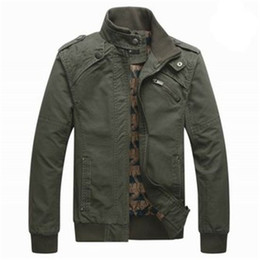 Wholesale Mens Cotton Washed Jackets - Mens Winter Cotton Washing Bomber Jackets Leisure Solid Stand Collar Flight Jacket Coat Men 4 Color Plus Size M-3XL