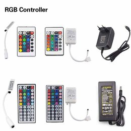 Wholesale 24 Dc Power Supply - 10 17 20 24 44 key RGB LED Strip Remote Controller   3A 5A DC12V Power Supply Adapter LED Controller IR Remote controller for RGB LED Strip
