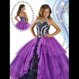 Wholesale Crystal Dresses Girl - Glitz Purple Ball Gown Girls Pageant Dresses For Teens Crystal Beaded Sequins Organza Floor Length Corset Ritzee Pageant Dresses For Girls