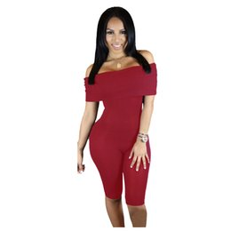 Wholesale Knee Length Rompers - Wholesale- Off Shoulder Knee Length Jumpsuits And Rompers Women Hot Sale Bodycon One Piece Bodysuit Ladies 2016 Summer 3 Color Playsuit