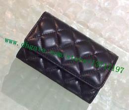 Titular de la tarjeta de visita de cuero negro online-Top Grade Lady Real Leather Soft Lambskin Business titular de la tarjeta de nombre plegado mujeres diseñador de lujo negro acolchado