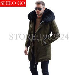 Wholesale Brown Fox Fur Collar - Wholesale- 2016 New men Winter Army Green&Black Jacket Coats Thick Parkas Plus Size Real black fox Raccoon Collar Hooded Outwear &Fur coat