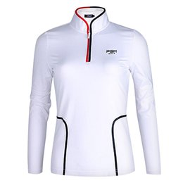 Wholesale New Autumn Stand Up - PGM new Women Golf Sportswear Autumn Long Sleeve Golf Shirts Slim Waist Stand-up Collar Golf clothing 93%Nylon 7%Spandex