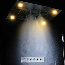 Wholesale Large Waterfall Shower Heads - Luxury led rain shower head Large Rain Shower-Set with Waterfall Shower head with embedded ceiling 600x800 rainfall Led Ceiling shower
