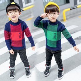 Wholesale Wool Sweaters For Kids - Boys Sweater Plaid Knitted Long Sleeve Shirt For Boy Autumn Tops Children's Costume Kids Pullover Knitted Sweater for boys 3-8T