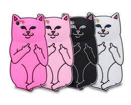 Wholesale Iphone Silicon Cat Cases - Soft Silicon Cat Case Middle Finger Cat pocket Cartoon Animals Rubbe silicone Cover For iPhone 5S 6 6s iPhone6 Plus 7 7S 8 plus X
