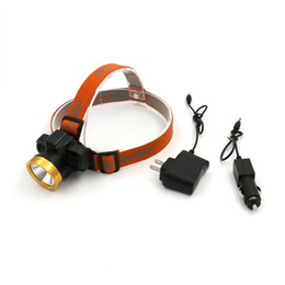 Wholesale Rechargeable Head Torches - Orange LED CREE Miner Q5 Headlight Built-in Rechargeable Battery Lantern Headlamp Gold Head Flashlight Torch With AC Car Charger