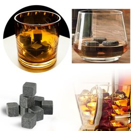 Wholesale Whisky Set - Natural Whiskey Stones 9pcs set Whisky Stones Cooler Whisky Rock Soapstone Ice Cube With Velvet Storage Pouch 0702241