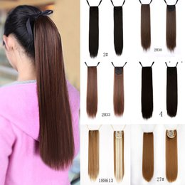 """Wholesale Wholesale Fake Hair Ponytail - Wholesale- 24"""" Long Straight Fake Hair Ponytail Hair Piece Drawstring Ribbon Hairpiece Clip In Pony Tail Hair Extensions Multic"""