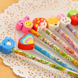 Wholesale Stationery Pencil For Children - Wholesale- 12pcs lots School children gift prizes stationery with animal shape HB cute cartoon pencils eraser for school