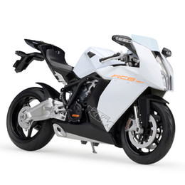 Wholesale Miniatures For Model - Welly 1:10 KTM 1190 RC8 Motorcycle Models Simulation Model Metal Diecast Models Motor Bike Miniature Race Toy For Gift Collection