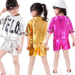 Wholesale Jazz Modern - Girls Boys Sequined Hip Hop Performance outfits Girls Jazz Modern Danceware Costumes Kids dancing Suits clothes set Tops+Pants