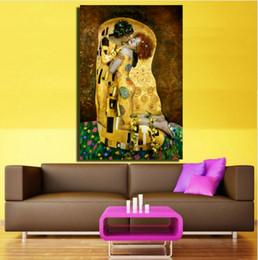 Абстрактная живопись густав климт онлайн-Framed The Kiss by Gustav Klimt Pure Handpainted Абстрактное искусство портретной живописи маслом, на холсте высокого качества Wall Art Decor Несколько размеров