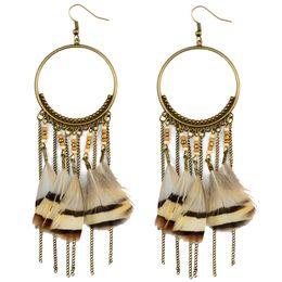 Wholesale Beads For Hoop Earrings - idealway Bohemian Fashion Bronze Alloy Hoop Brown Beads Chains Tassels Feather Dangle Earrings For Women Jewelry