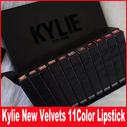 Wholesale Key Shipping - New Kylie 11 colors New Velvets Liquid Lipstick kit Purple Halloween Lip Gloss Los key Basic Boy Bye Punk free shipping