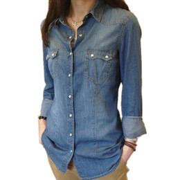 Wholesale ladies denim shirt xl - Womens Chambray Shirt Top denim Shirts and Blouses Long Sleeve Snap Button Cotton Ladies Shirt Camisa Blusa Camisetas Femininas