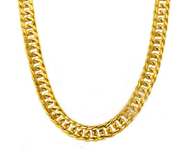 Wholesale Real Gold Plated 24k Chain - 2017 FREE SHIPPING Heavy MENS 24K REAL SOLID GOLD FINISH THICK MIAMI CUBAN LINK NECKLACE CHAIN