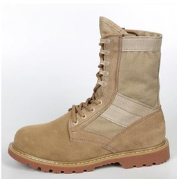 Wholesale Tan Tactical Lights - 2016 New Military Boots Full Grain Leather outdoor Desert Tan combat army boots male shoes Mens Tactical boot