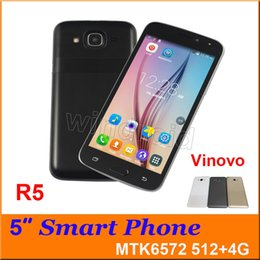 "Wholesale Unlocked 3g Smartphones - Cheap Vinovo R5 MTK6572 Dual Core 5"" 3G Unlocked Smartphones Android 4.4 Dual SIM Cameras 512MB 4GB gesture wake Mobile phone Free with case"
