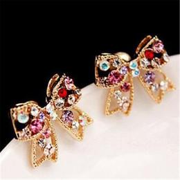 regalos de boda de cristal baratos Rebajas Diamante Bow Rhinestone Stud DHL Moda Nuevos Pendientes Joyas de la boda Amor Cristal Pendiente Mujeres baratas Pendiente Regalo de Navidad