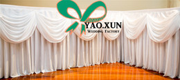 Wholesale White Table Skirting - White Or Black Color 100% Ice Silk Table Skirt For Wedding Table Cloth Sale By 2M